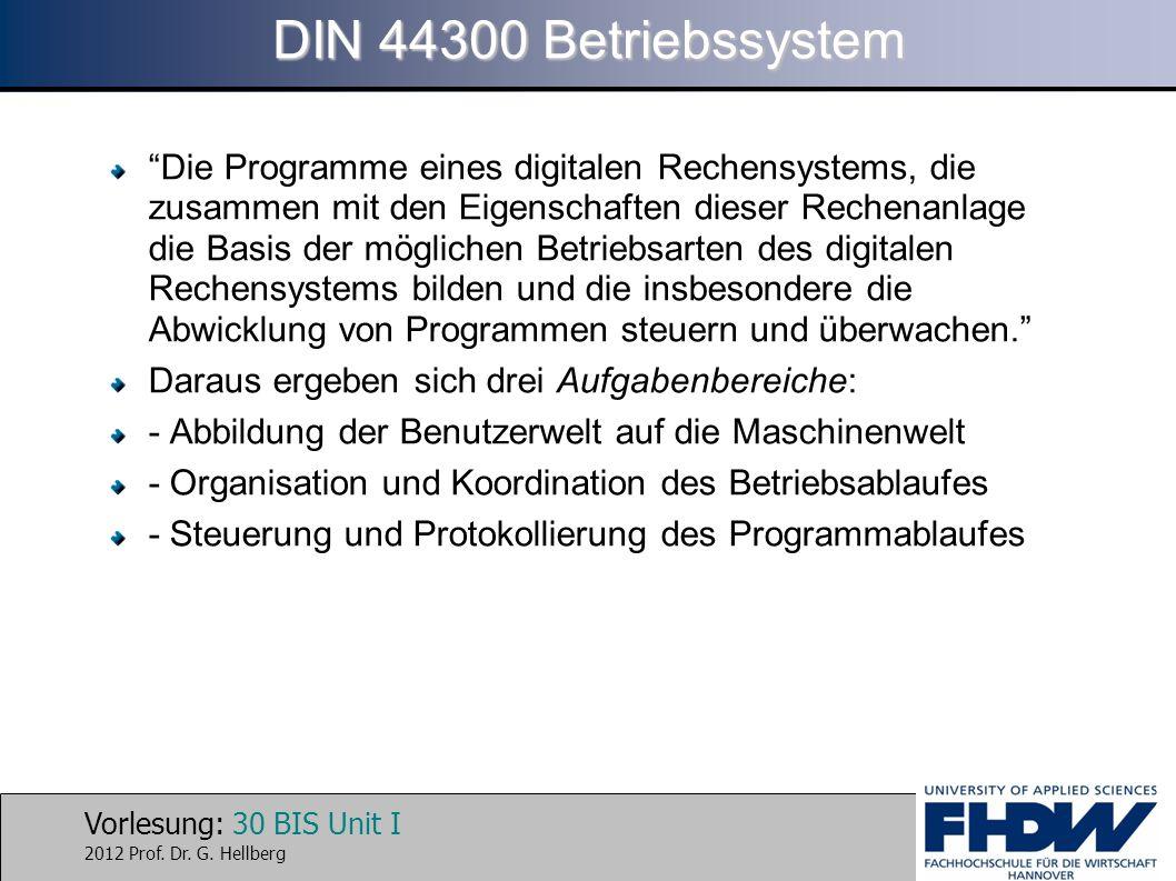 Vorlesung: 30 BIS Unit I 2012 Prof. Dr. G. Hellberg DIN 44300 Betriebssystem Die Programme eines digitalen Rechensystems, die zusammen mit den Eigensc