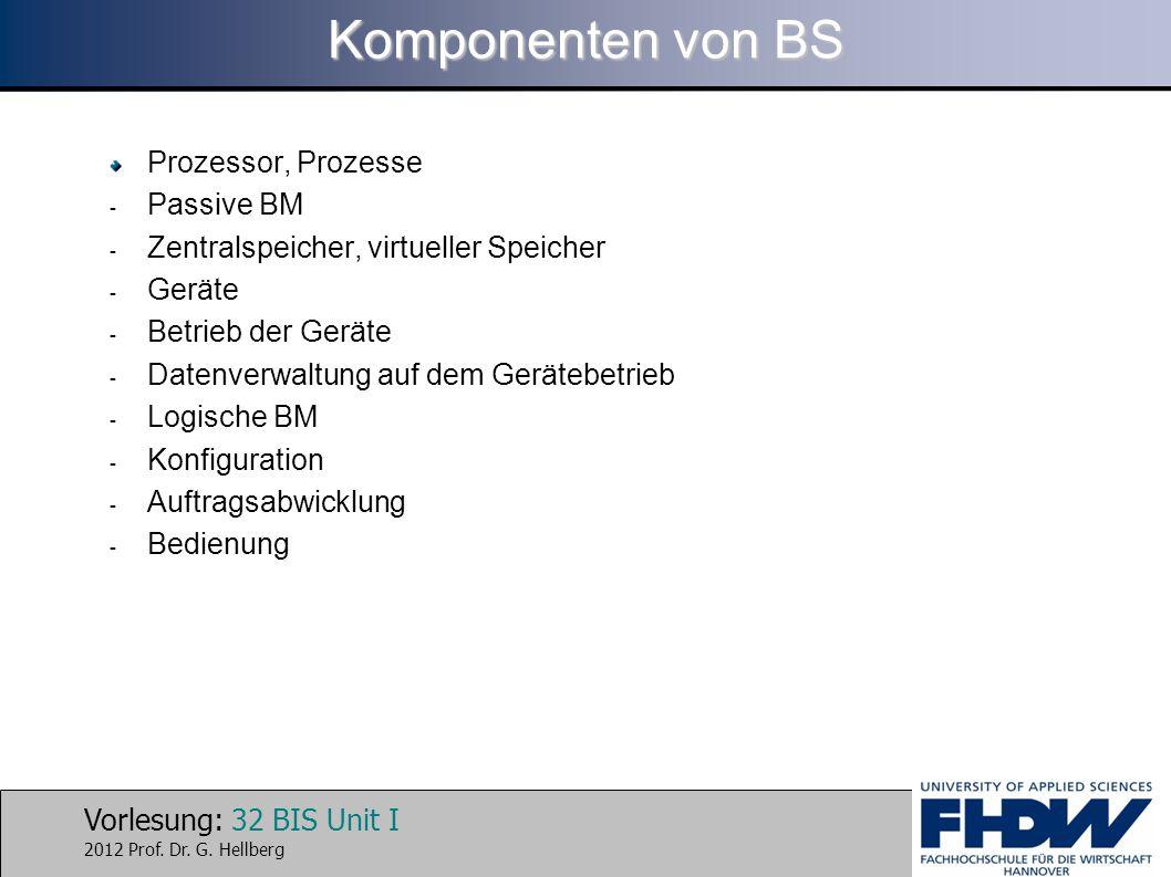 Vorlesung: 32 BIS Unit I 2012 Prof. Dr. G. Hellberg Komponenten von BS Prozessor, Prozesse - Passive BM - Zentralspeicher, virtueller Speicher - Gerät