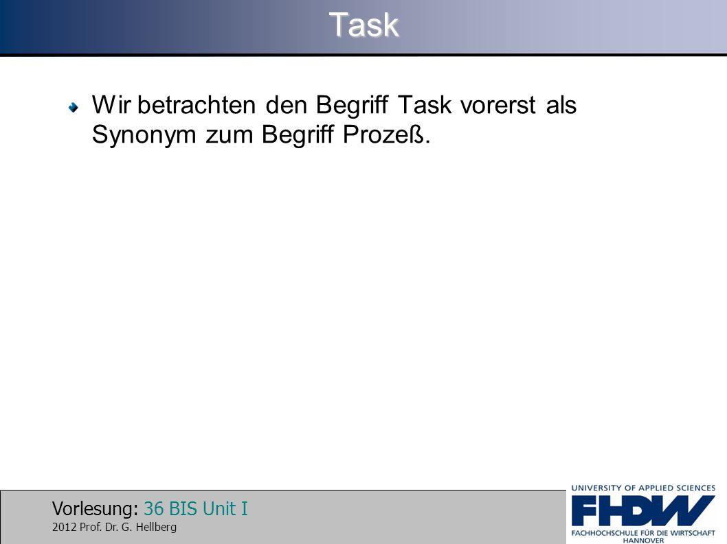Vorlesung: 36 BIS Unit I 2012 Prof. Dr. G. HellbergTask Wir betrachten den Begriff Task vorerst als Synonym zum Begriff Prozeß.