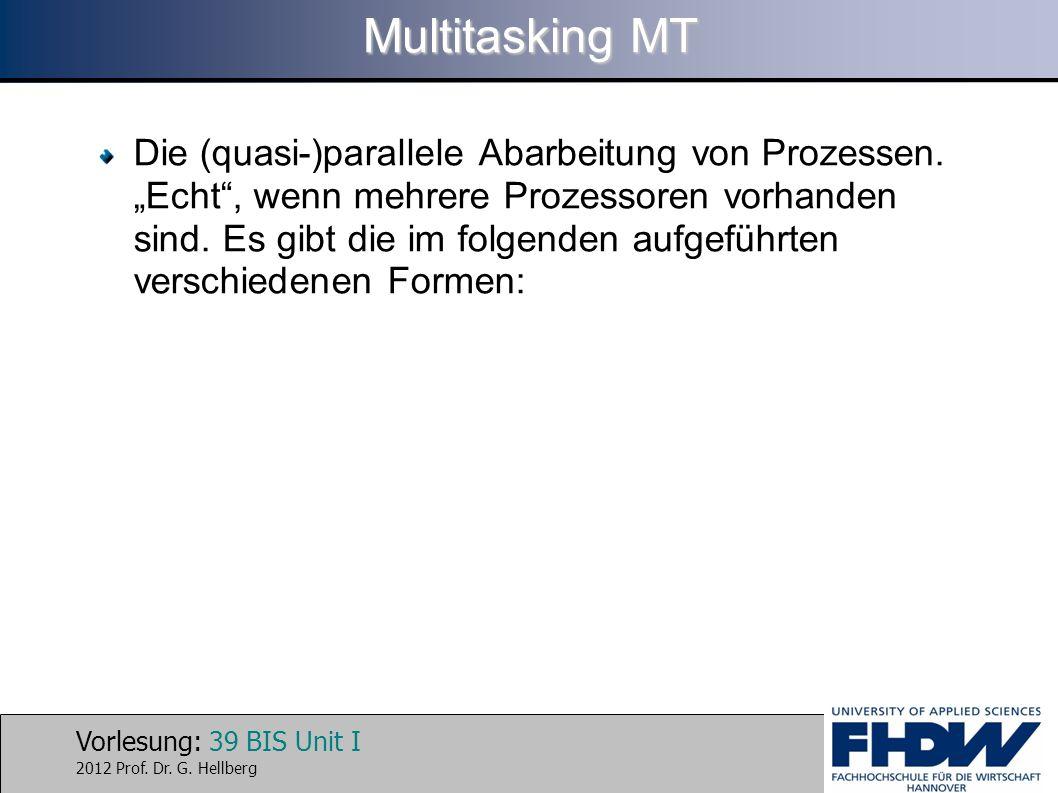 Vorlesung: 39 BIS Unit I 2012 Prof. Dr. G. Hellberg Multitasking MT Die (quasi-)parallele Abarbeitung von Prozessen. Echt, wenn mehrere Prozessoren vo