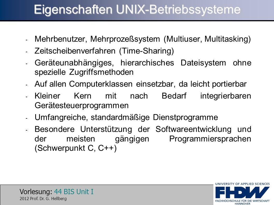 Vorlesung: 44 BIS Unit I 2012 Prof. Dr. G. Hellberg Eigenschaften UNIX-Betriebssysteme - Mehrbenutzer, Mehrprozeßsystem (Multiuser, Multitasking) - Ze