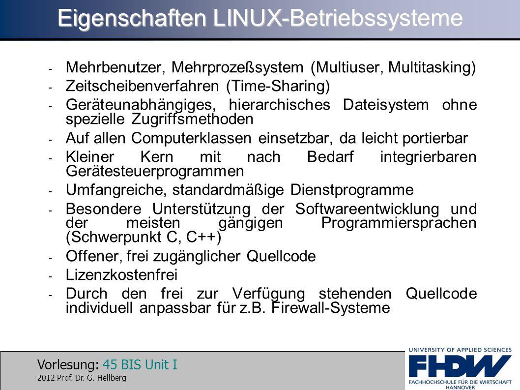 Vorlesung: 45 BIS Unit I 2012 Prof. Dr. G. Hellberg Eigenschaften LINUX-Betriebssysteme - Mehrbenutzer, Mehrprozeßsystem (Multiuser, Multitasking) - Z