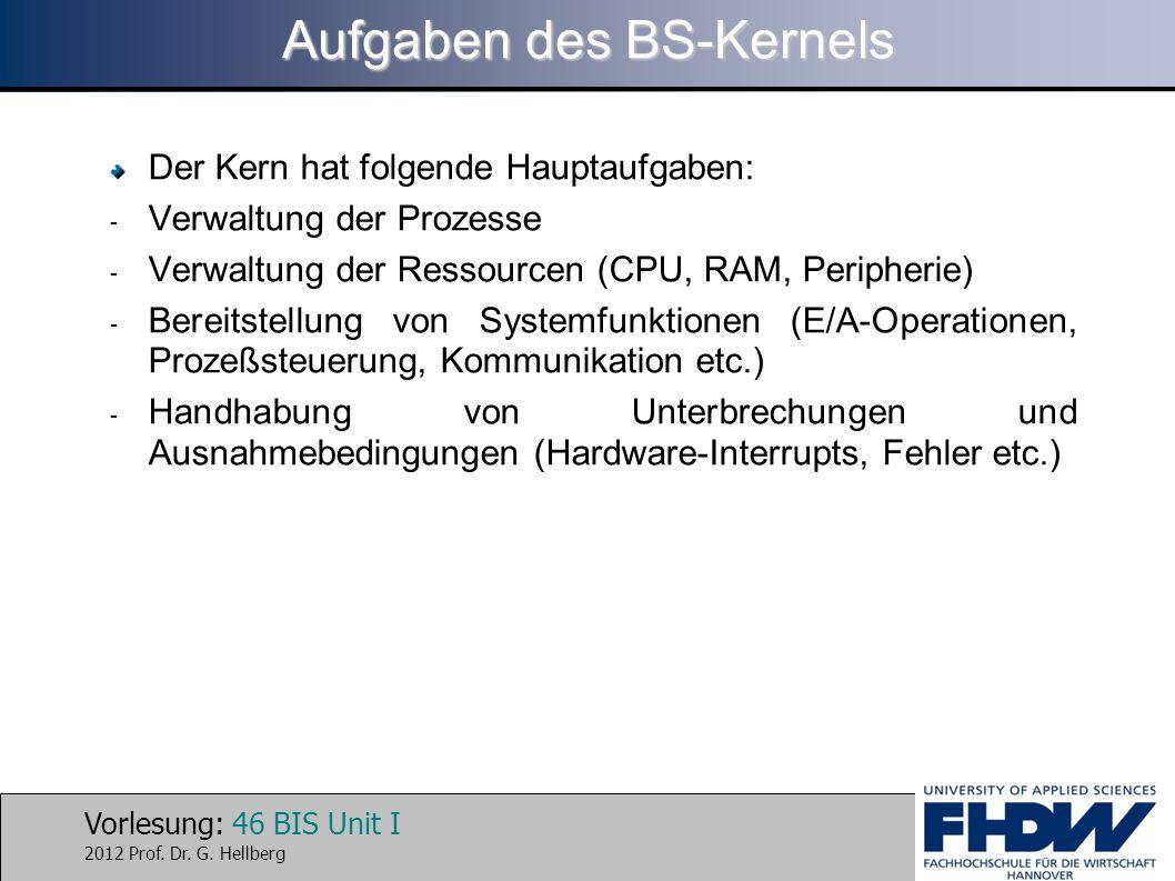 Vorlesung: 46 BIS Unit I 2012 Prof. Dr. G. Hellberg Aufgaben des BS-Kernels Der Kern hat folgende Hauptaufgaben: - Verwaltung der Prozesse - Verwaltun