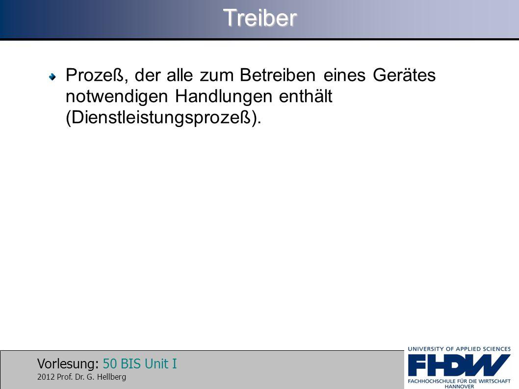 Vorlesung: 50 BIS Unit I 2012 Prof. Dr. G. HellbergTreiber Prozeß, der alle zum Betreiben eines Gerätes notwendigen Handlungen enthält (Dienstleistung