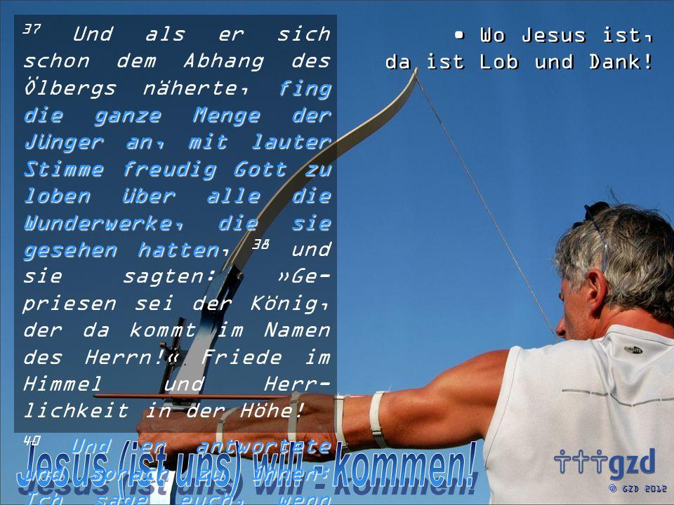 GZD 2012 fing die ganze Menge der Jünger an, mit lauter Stimme freudig Gott zu loben über alle die Wunderwerke, die sie gesehen hatten 37 Und als er sich schon dem Abhang des Ölbergs näherte, fing die ganze Menge der Jünger an, mit lauter Stimme freudig Gott zu loben über alle die Wunderwerke, die sie gesehen hatten, 38 und sie sagten: »Ge- priesen sei der König, der da kommt im Namen des Herrn!« Friede im Himmel und Herr- lichkeit in der Höhe.