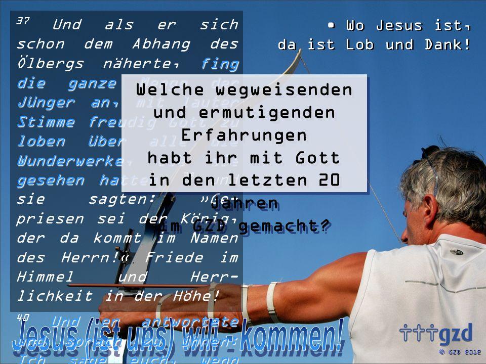 GZD 2012 Wo Jesus ist, da ist Lob und Dank! fing die ganze Menge der Jünger an, mit lauter Stimme freudig Gott zu loben über alle die Wunderwerke, die