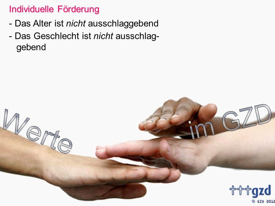GZD 2012 Individuelle Förderung - Das Alter ist nicht ausschlaggebend - Das Geschlecht ist nicht ausschlag- gebend