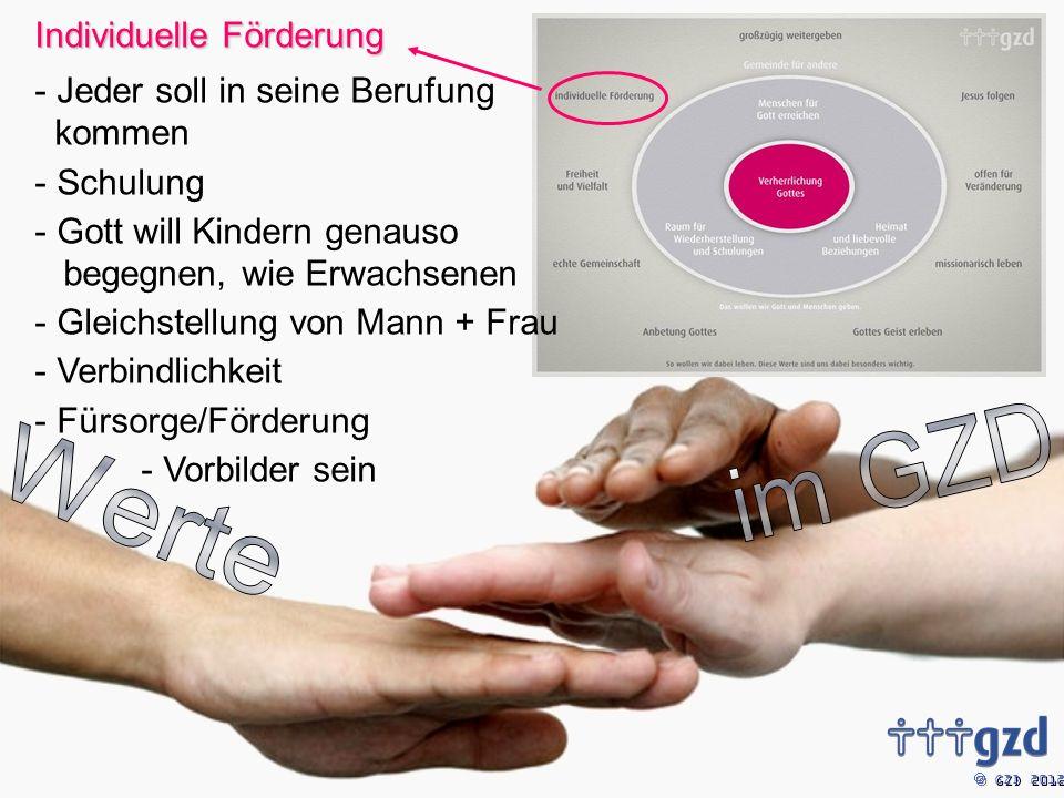 GZD 2012 Individuelle Förderung - Jeder soll in seine Berufung kommen - Schulung - Gott will Kindern genauso begegnen, wie Erwachsenen - Gleichstellung von Mann + Frau - Verbindlichkeit - Fürsorge/Förderung - Vorbilder sein