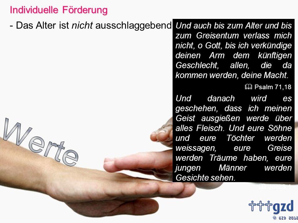GZD 2012 Und auch bis zum Alter und bis zum Greisentum verlass mich nicht, o Gott, bis ich verkündige deinen Arm dem künftigen Geschlecht, allen, die da kommen werden, deine Macht.