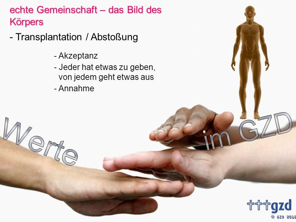 GZD 2012 - Akzeptanz - Jeder hat etwas zu geben, von jedem geht etwas aus - Annahme echte Gemeinschaft – das Bild des Körpers - Transplantation / Abstoßung