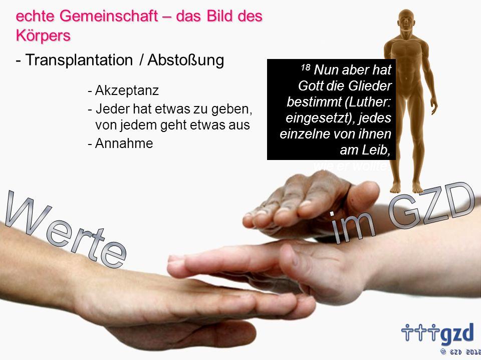 GZD 2012 - Akzeptanz - Jeder hat etwas zu geben, von jedem geht etwas aus - Annahme 18 Nun aber hat Gott die Glieder bestimmt (Luther: eingesetzt), jedes einzelne von ihnen am Leib, wie er wollte.