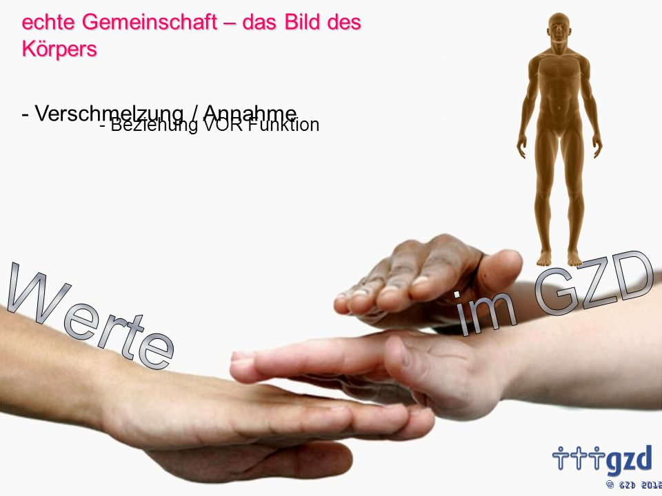 GZD 2012 echte Gemeinschaft – das Bild des Körpers - Verschmelzung / Annahme - Beziehung VOR Funktion