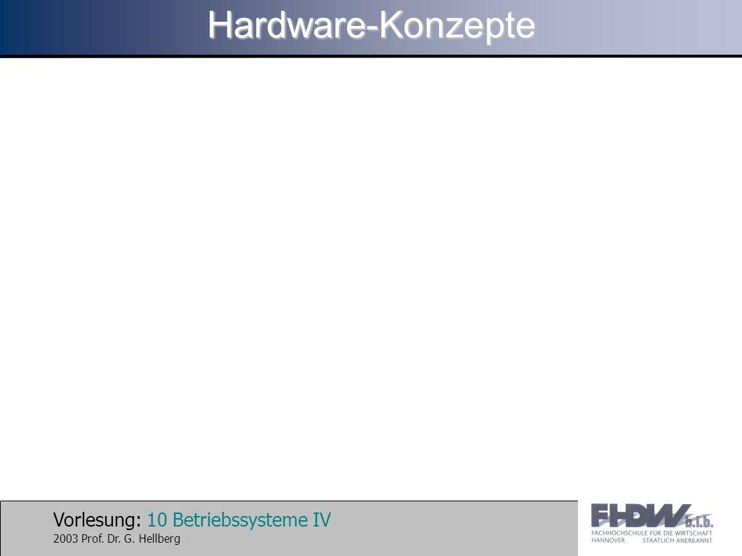 Vorlesung: 10 Betriebssysteme IV 2003 Prof. Dr. G. HellbergHardware-Konzepte