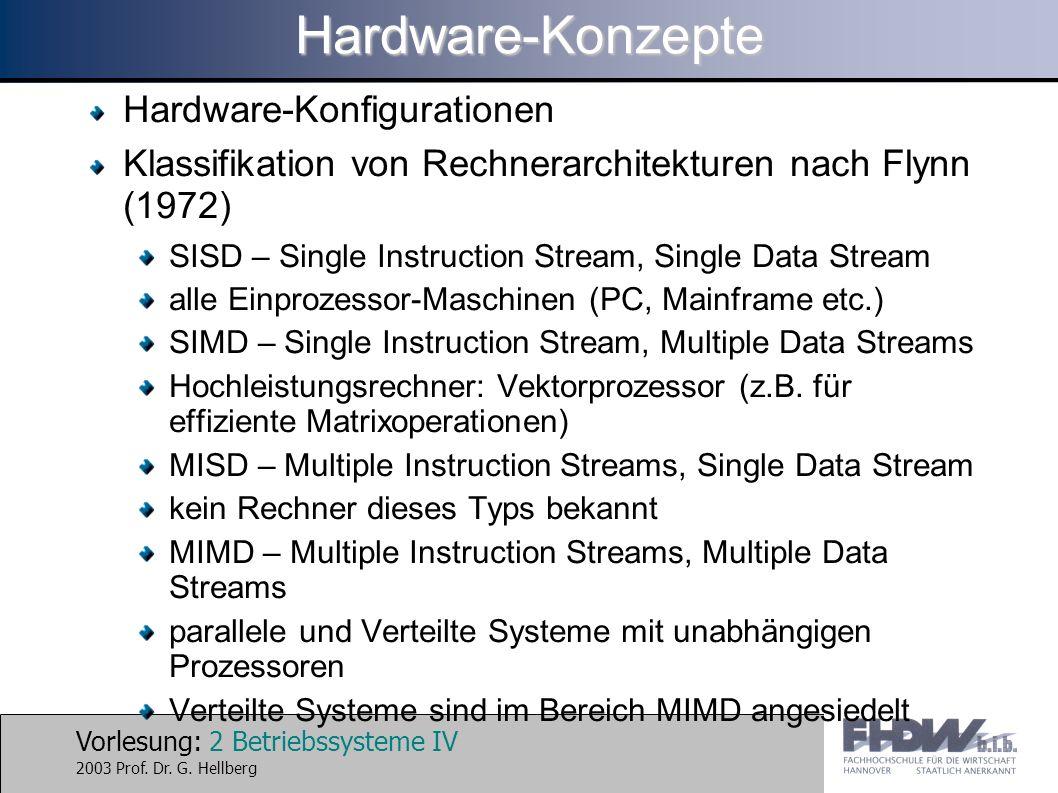 Vorlesung: 2 Betriebssysteme IV 2003 Prof. Dr. G. HellbergHardware-Konzepte Hardware-Konfigurationen Klassifikation von Rechnerarchitekturen nach Flyn