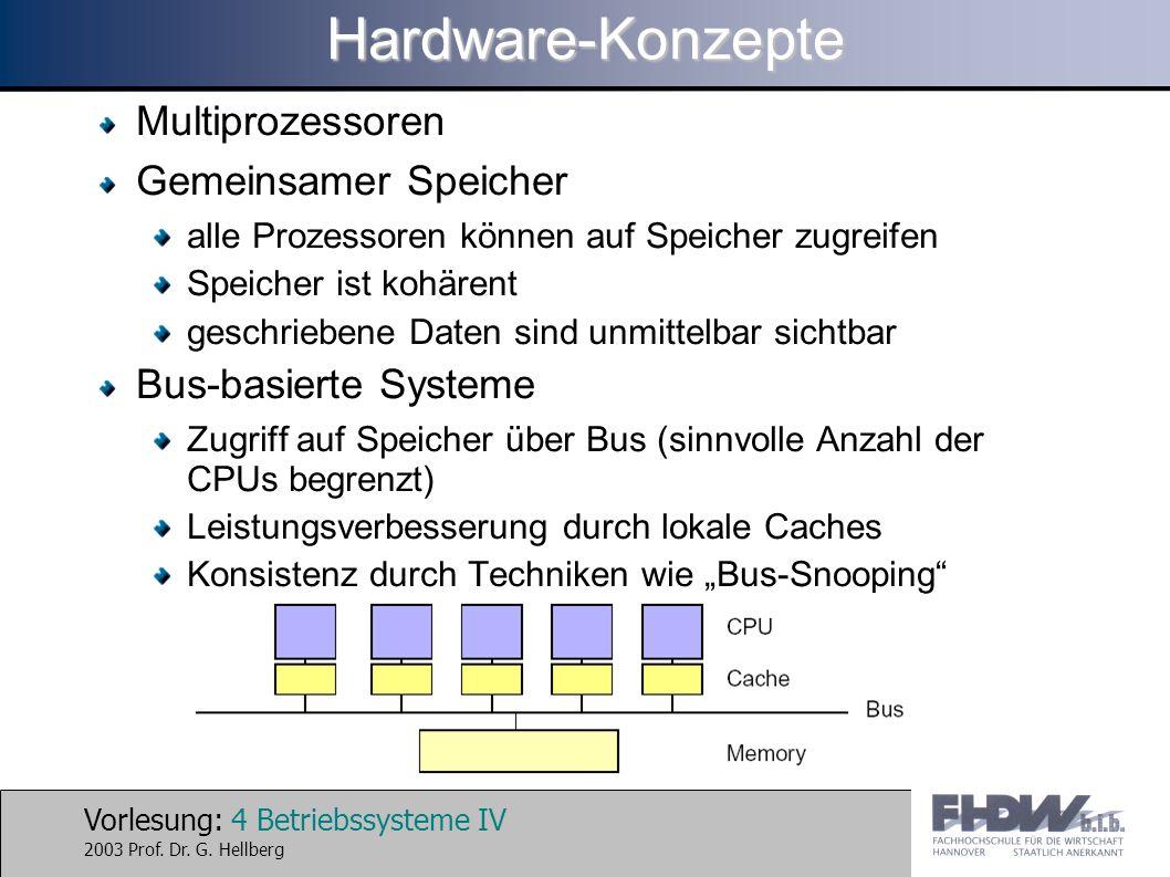 Vorlesung: 4 Betriebssysteme IV 2003 Prof. Dr. G. HellbergHardware-Konzepte Multiprozessoren Gemeinsamer Speicher alle Prozessoren können auf Speicher