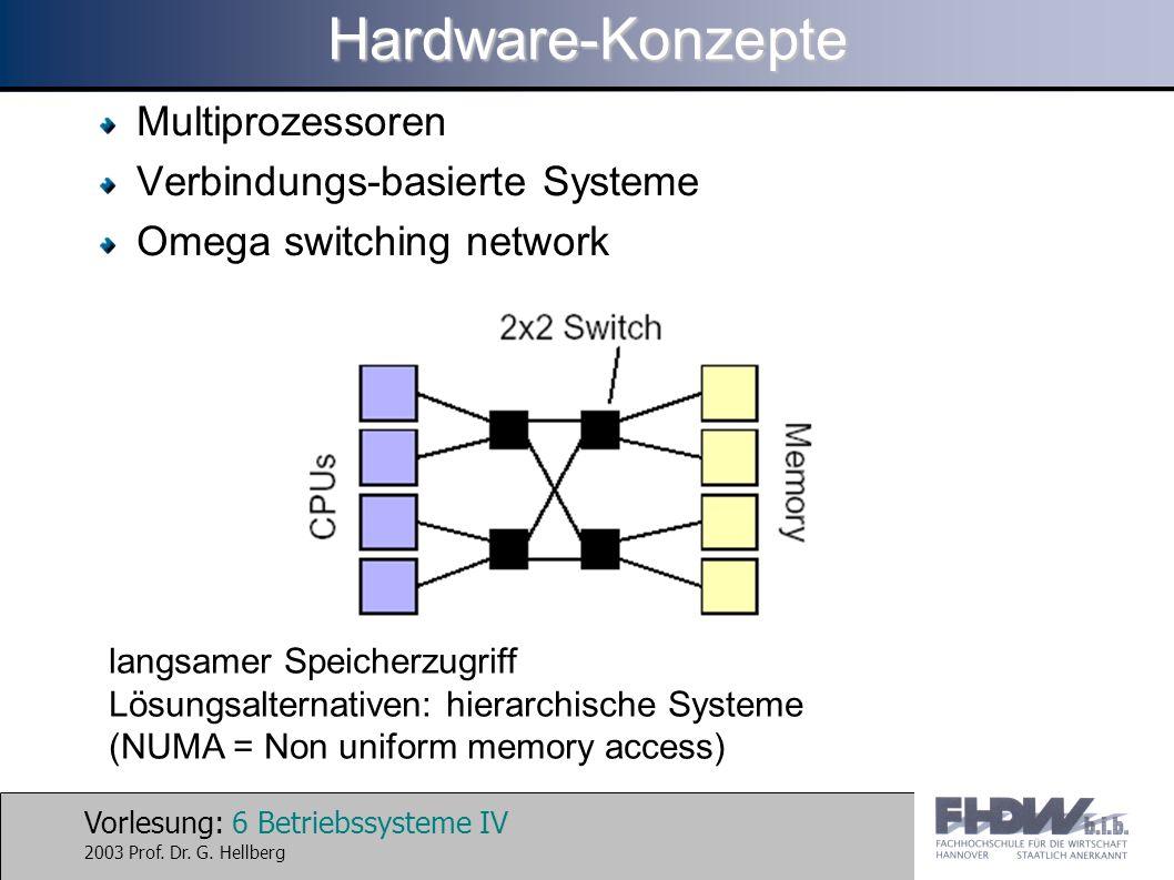 Vorlesung: 6 Betriebssysteme IV 2003 Prof. Dr. G. HellbergHardware-Konzepte Multiprozessoren Verbindungs-basierte Systeme Omega switching network lang