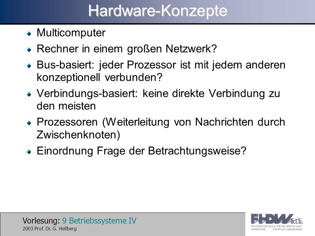 Vorlesung: 9 Betriebssysteme IV 2003 Prof. Dr. G. HellbergHardware-Konzepte Multicomputer Rechner in einem großen Netzwerk? Bus-basiert: jeder Prozess