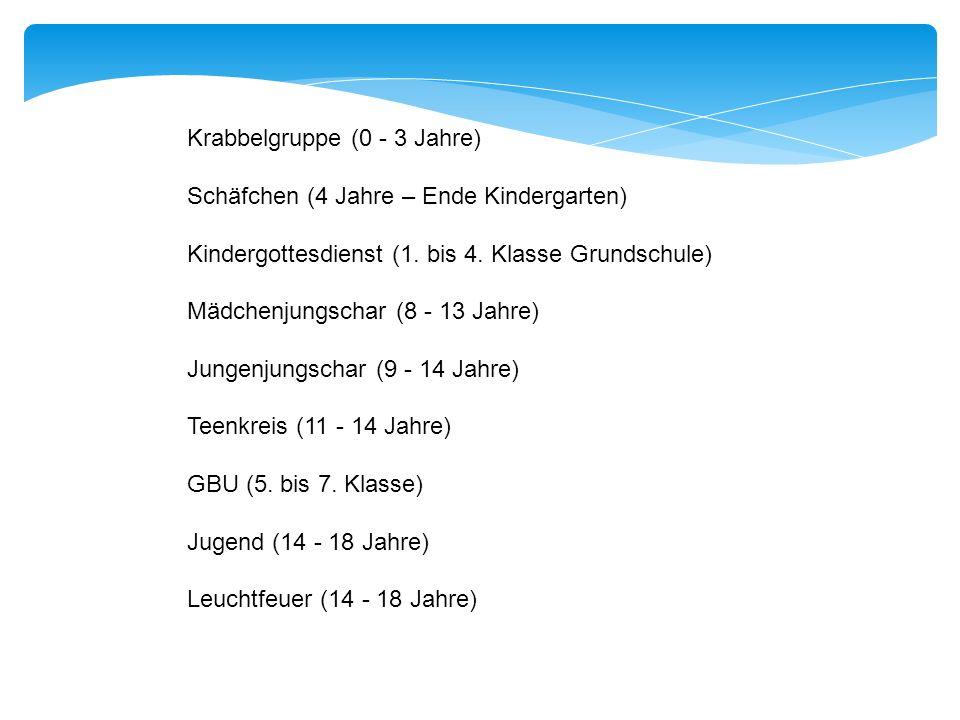 Krabbelgruppe (0 - 3 Jahre) Schäfchen (4 Jahre – Ende Kindergarten) Kindergottesdienst (1. bis 4. Klasse Grundschule) Mädchenjungschar (8 - 13 Jahre)