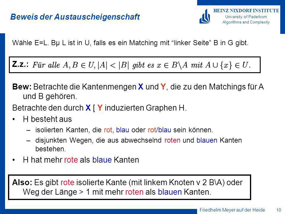 Friedhelm Meyer auf der Heide 10 HEINZ NIXDORF INSTITUTE University of Paderborn Algorithms and Complexity Beweis der Austauscheigenschaft Wähle E=L.