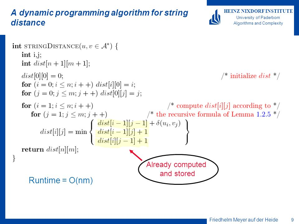 Friedhelm Meyer auf der Heide 9 HEINZ NIXDORF INSTITUTE University of Paderborn Algorithms and Complexity A dynamic programming algorithm for string distance Runtime = O(nm) Already computed and stored