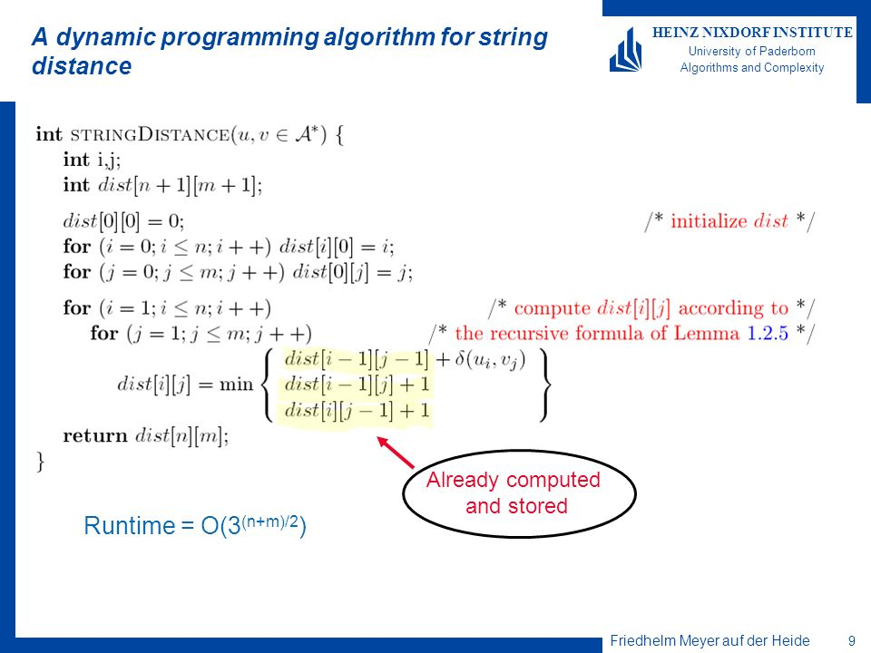 Friedhelm Meyer auf der Heide 9 HEINZ NIXDORF INSTITUTE University of Paderborn Algorithms and Complexity A dynamic programming algorithm for string distance Runtime = O(3 (n+m)/2 ) Already computed and stored