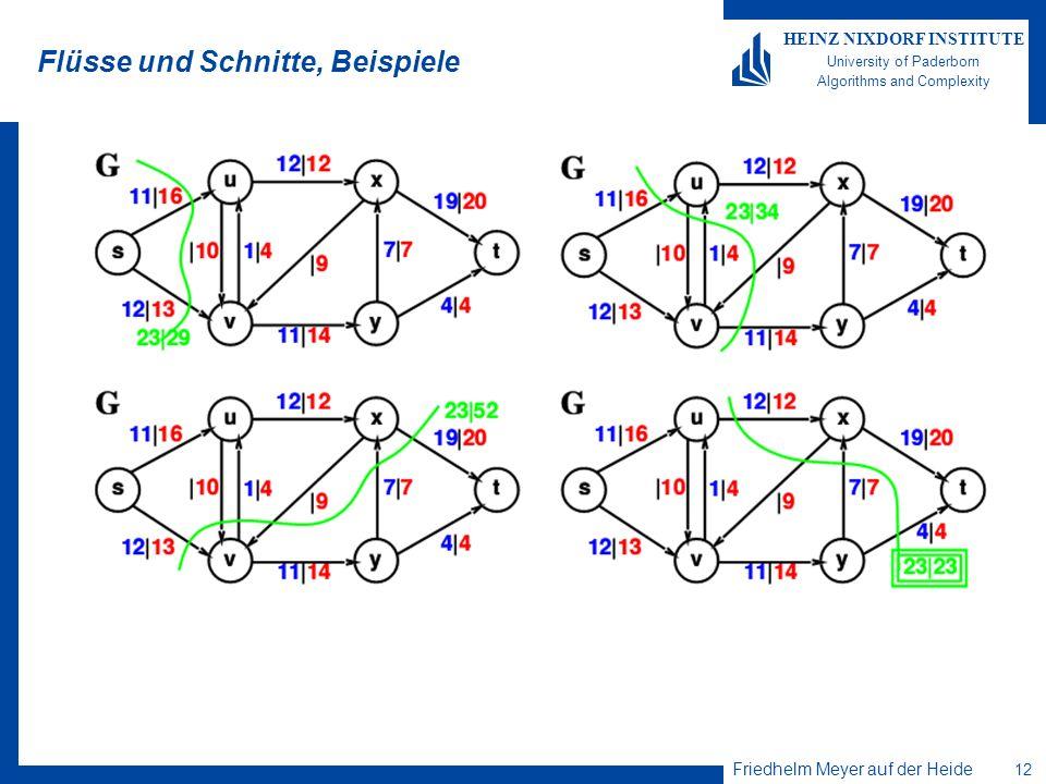 Friedhelm Meyer auf der Heide 12 HEINZ NIXDORF INSTITUTE University of Paderborn Algorithms and Complexity Flüsse und Schnitte, Beispiele