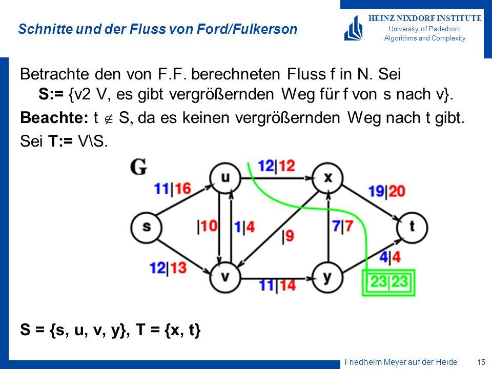 Friedhelm Meyer auf der Heide 15 HEINZ NIXDORF INSTITUTE University of Paderborn Algorithms and Complexity Schnitte und der Fluss von Ford/Fulkerson B