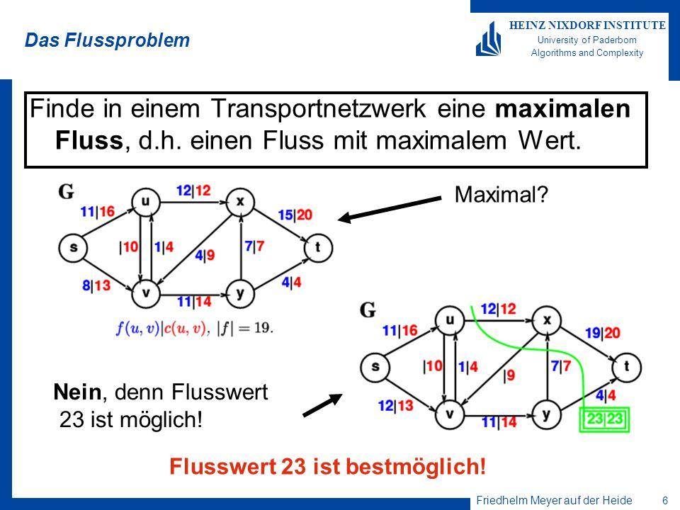 Friedhelm Meyer auf der Heide 6 HEINZ NIXDORF INSTITUTE University of Paderborn Algorithms and Complexity Das Flussproblem Finde in einem Transportnet