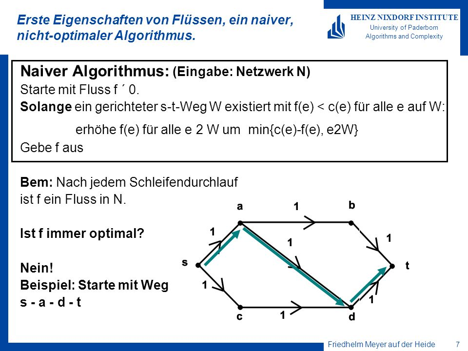 Friedhelm Meyer auf der Heide 7 HEINZ NIXDORF INSTITUTE University of Paderborn Algorithms and Complexity Erste Eigenschaften von Flüssen, ein naiver,