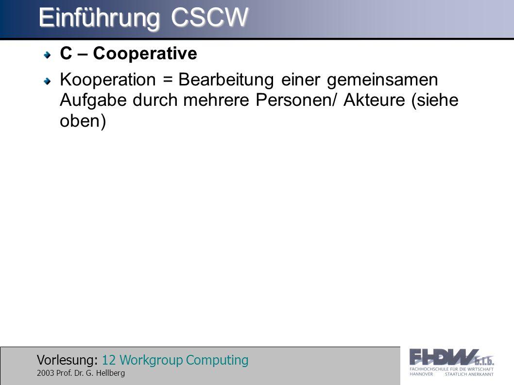 Vorlesung: 12 Workgroup Computing 2003 Prof. Dr. G. Hellberg Einführung CSCW C – Cooperative Kooperation = Bearbeitung einer gemeinsamen Aufgabe durch