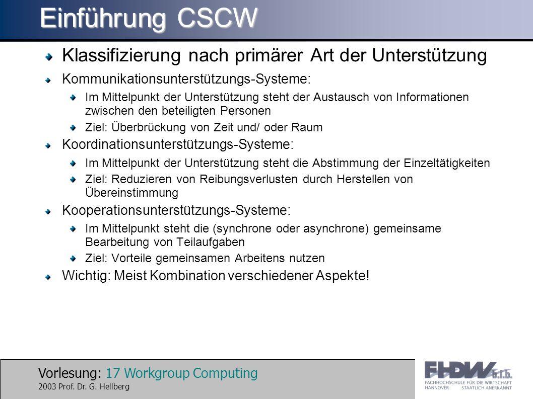 Vorlesung: 17 Workgroup Computing 2003 Prof. Dr. G. Hellberg Einführung CSCW Klassifizierung nach primärer Art der Unterstützung Kommunikationsunterst