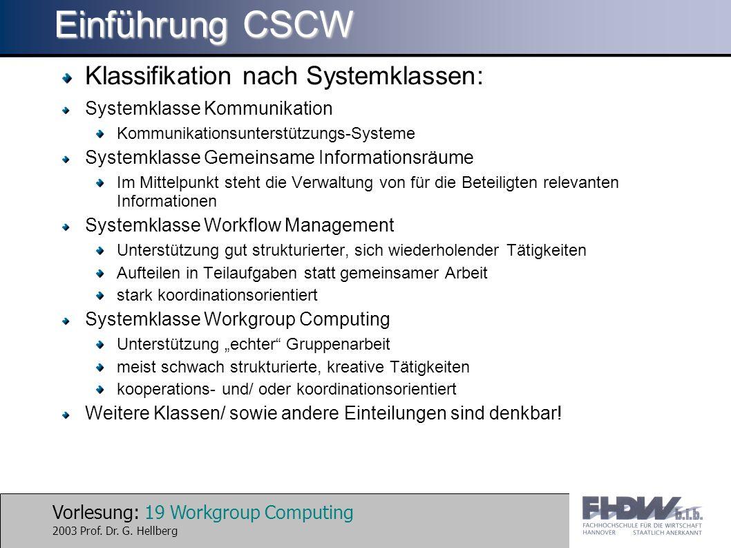 Vorlesung: 19 Workgroup Computing 2003 Prof. Dr. G. Hellberg Einführung CSCW Klassifikation nach Systemklassen: Systemklasse Kommunikation Kommunikati