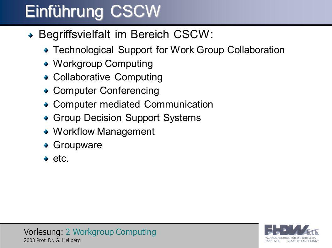 Vorlesung: 3 Workgroup Computing 2003 Prof.Dr. G.