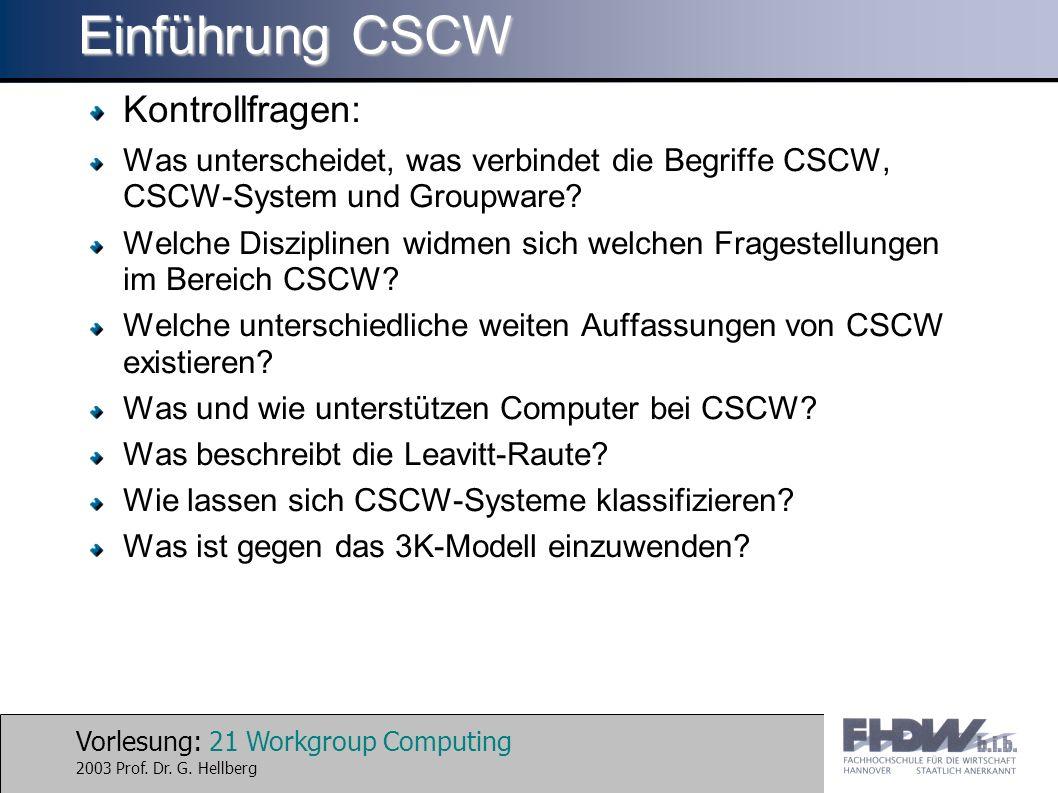 Vorlesung: 21 Workgroup Computing 2003 Prof. Dr. G. Hellberg Einführung CSCW Kontrollfragen: Was unterscheidet, was verbindet die Begriffe CSCW, CSCW-
