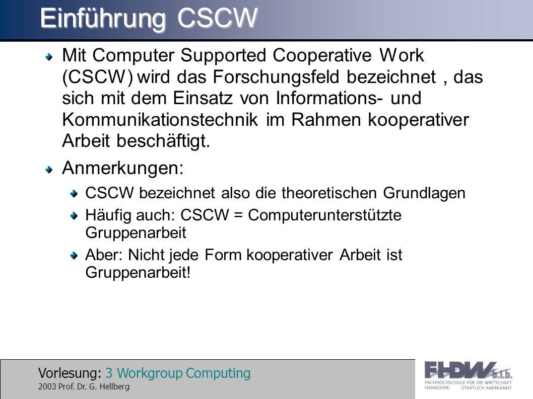 Vorlesung: 3 Workgroup Computing 2003 Prof. Dr. G. Hellberg Einführung CSCW Mit Computer Supported Cooperative Work (CSCW) wird das Forschungsfeld bez