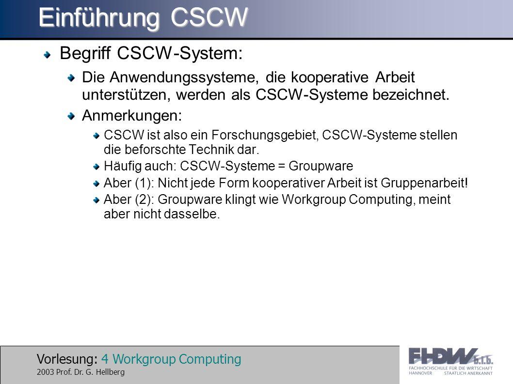 Vorlesung: 4 Workgroup Computing 2003 Prof. Dr. G. Hellberg Einführung CSCW Begriff CSCW-System: Die Anwendungssysteme, die kooperative Arbeit unterst