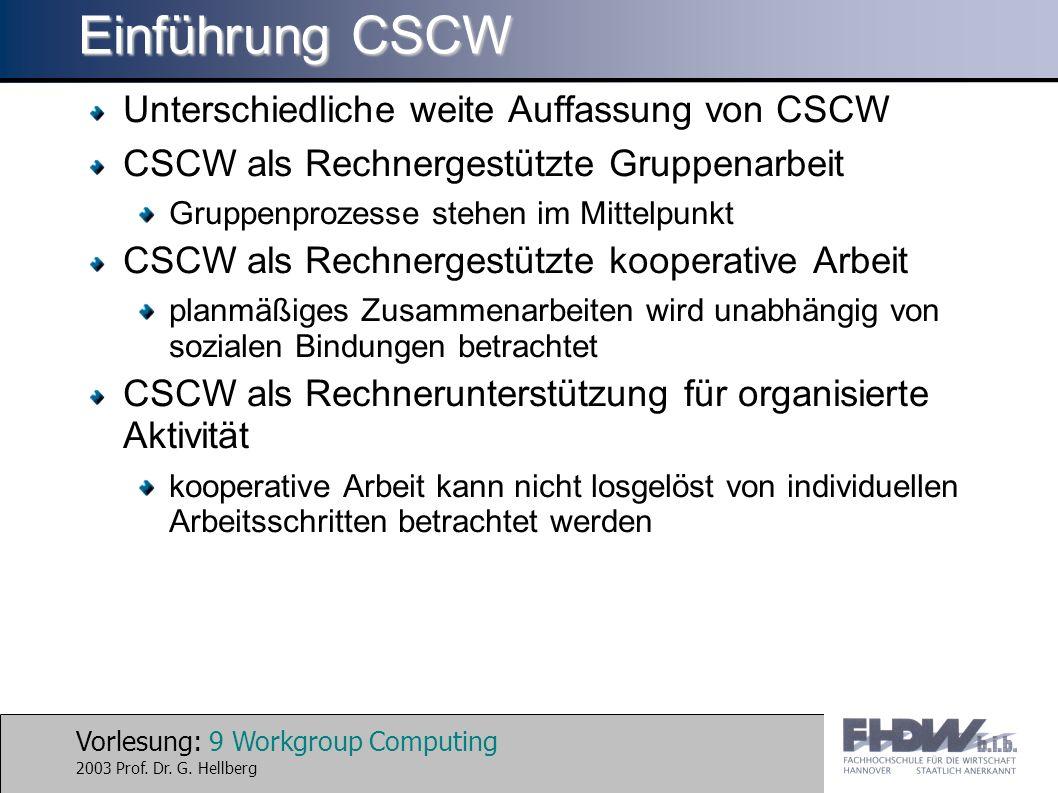 Vorlesung: 9 Workgroup Computing 2003 Prof. Dr. G. Hellberg Einführung CSCW Unterschiedliche weite Auffassung von CSCW CSCW als Rechnergestützte Grupp