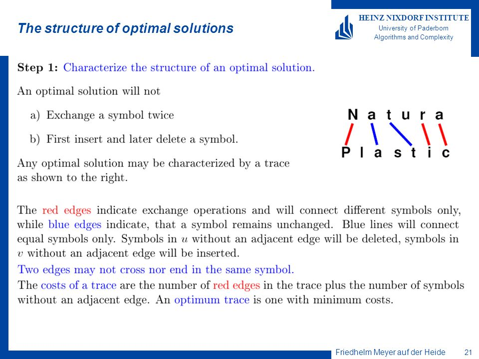 Friedhelm Meyer auf der Heide 21 HEINZ NIXDORF INSTITUTE University of Paderborn Algorithms and Complexity The structure of optimal solutions