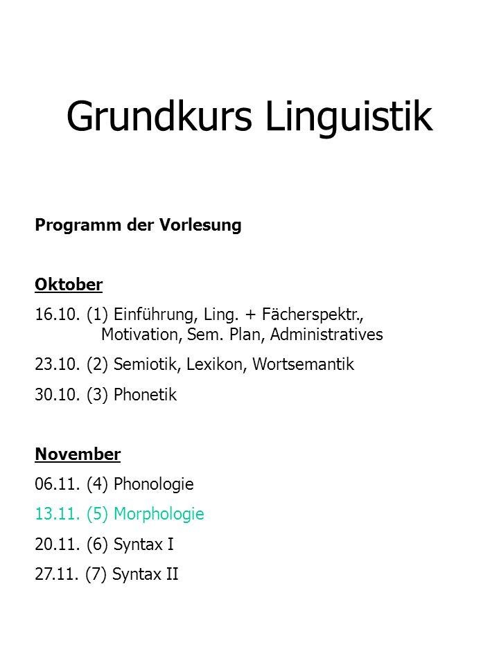 Grundkurs Linguistik Programm der Vorlesung Oktober 16.10. (1) Einführung, Ling. + Fächerspektr., Motivation, Sem. Plan, Administratives 23.10. (2) Se