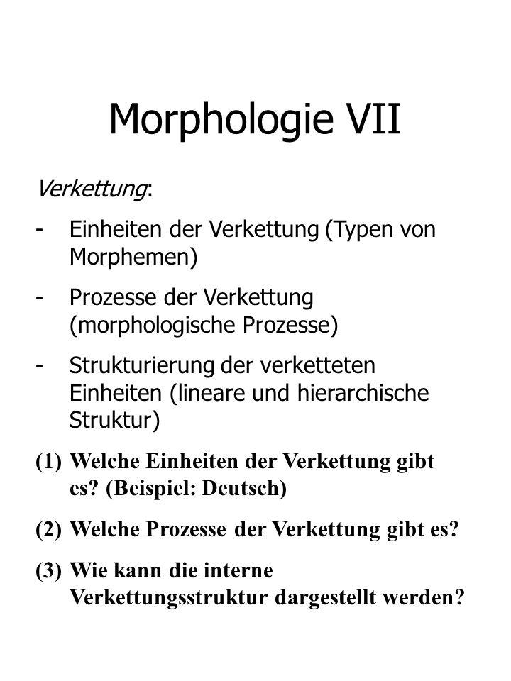Morphologie VII Verkettung: -Einheiten der Verkettung (Typen von Morphemen) -Prozesse der Verkettung (morphologische Prozesse) -Strukturierung der ver
