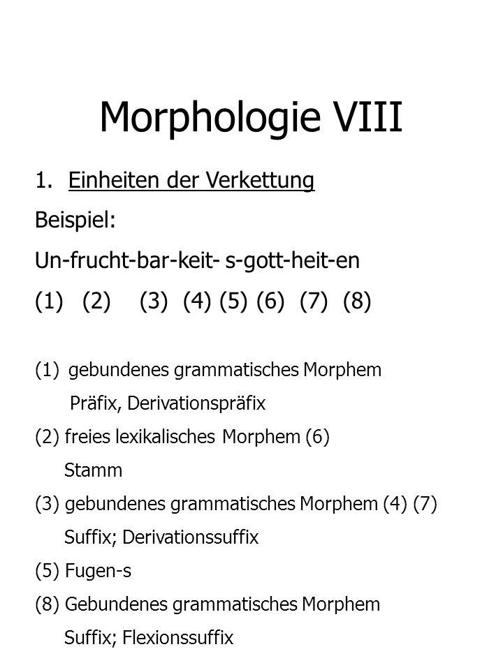 Morphologie VIII 1.Einheiten der Verkettung Beispiel: Un-frucht-bar-keit- s-gott-heit-en (1) (2) (3) (4) (5) (6) (7) (8) (1)gebundenes grammatisches M