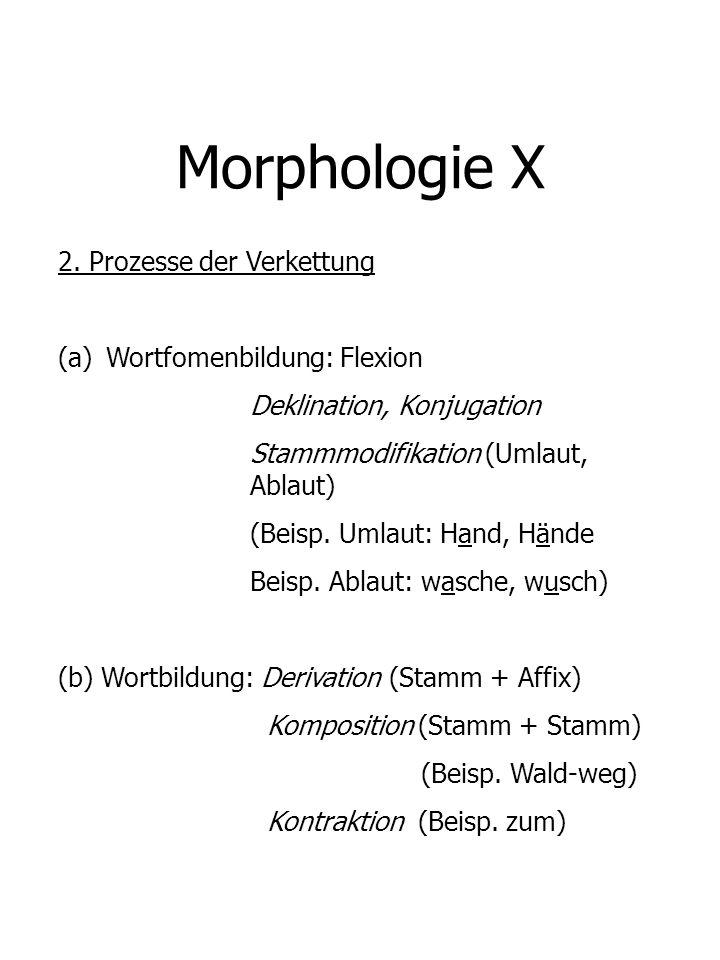 Morphologie X 2. Prozesse der Verkettung (a)Wortfomenbildung: Flexion Deklination, Konjugation Stammmodifikation (Umlaut, Ablaut) (Beisp. Umlaut: Hand