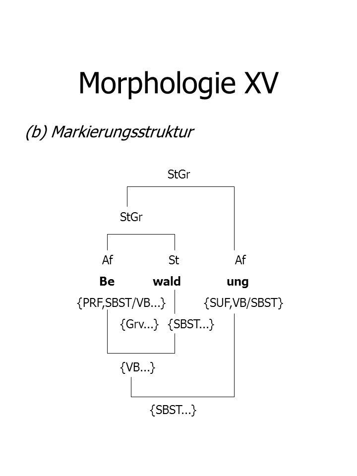 Morphologie XV (b) Markierungsstruktur StGr Af St Af Be wald ung {PRF,SBST/VB...} {SUF,VB/SBST} {Grv...}{SBST...} {VB...} {SBST...}