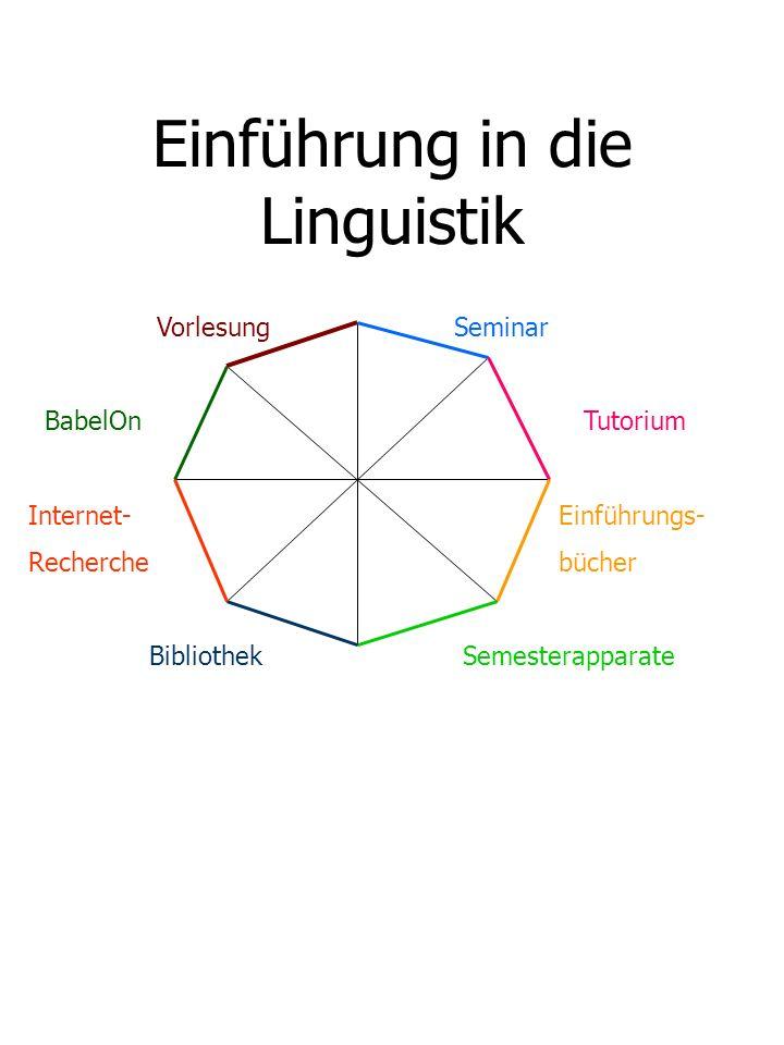 Einführung in die Linguistik Vorlesung Seminar BabelOn Tutorium Internet- Einführungs- Recherche bücher Bibliothek Semesterapparate
