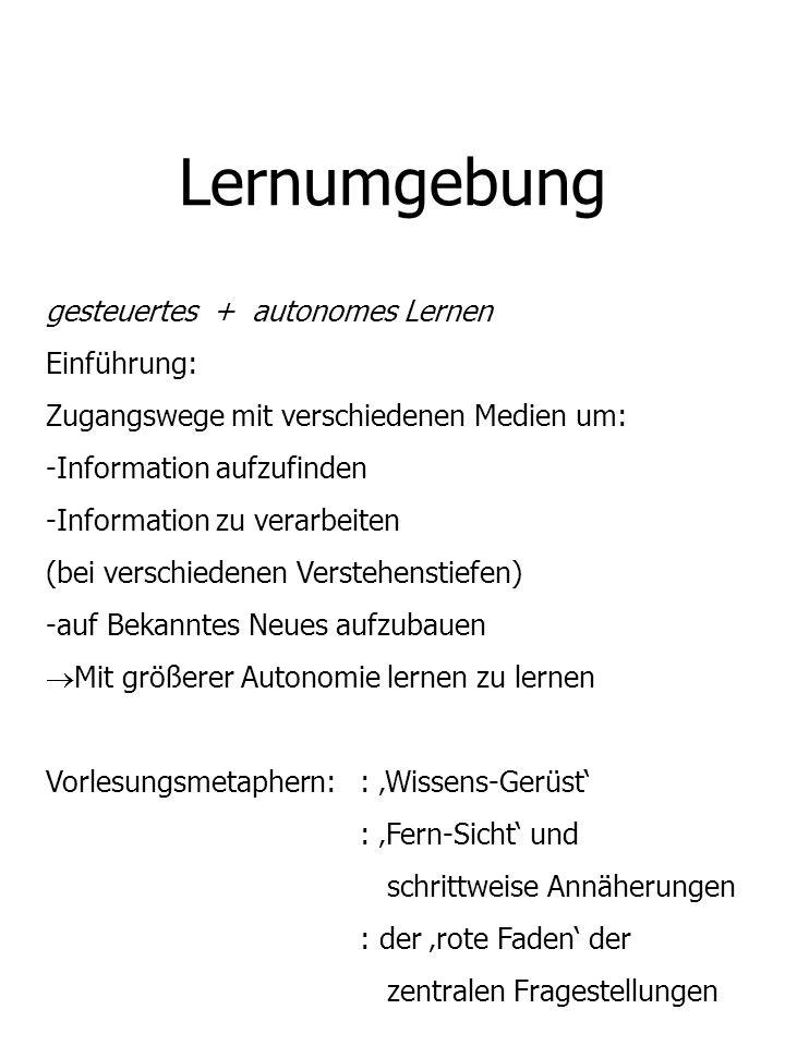 Lernumgebung gesteuertes + autonomes Lernen Einführung: Zugangswege mit verschiedenen Medien um: -Information aufzufinden -Information zu verarbeiten
