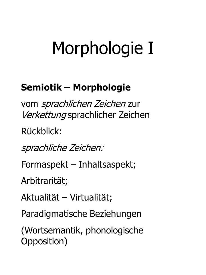 Morphologie I Semiotik – Morphologie vom sprachlichen Zeichen zur Verkettung sprachlicher Zeichen Rückblick: sprachliche Zeichen: Formaspekt – Inhalts