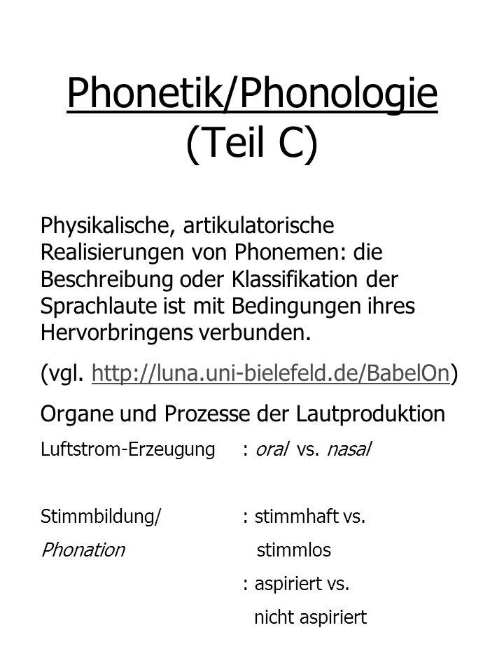 Phonetik/Phonologie (Teil C) Physikalische, artikulatorische Realisierungen von Phonemen: die Beschreibung oder Klassifikation der Sprachlaute ist mit