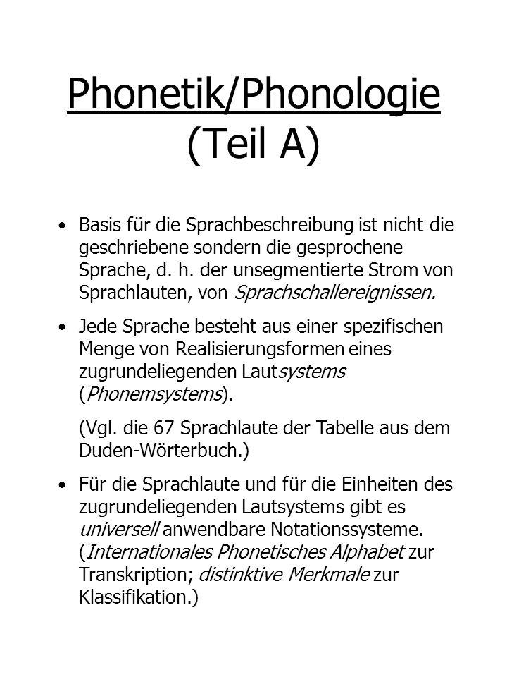 Phonetik/Phonologie (Teil C) Physikalische, artikulatorische Realisierungen von Phonemen: die Beschreibung oder Klassifikation der Sprachlaute ist mit Bedingungen ihres Hervorbringens verbunden.