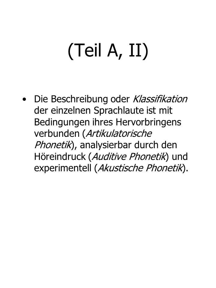 (Teil C, II) Modifikation im : Artikulationsort Rachenraum, Mundraum,: Artikulationsart Nasenraum; Artikulation Konsonanten : Zungenlage : Lippenrundung : Mundöffnung : Länge Vokale