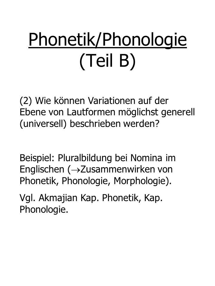 Phonetik/Phonologie (Teil B) (2) Wie können Variationen auf der Ebene von Lautformen möglichst generell (universell) beschrieben werden? Beispiel: Plu